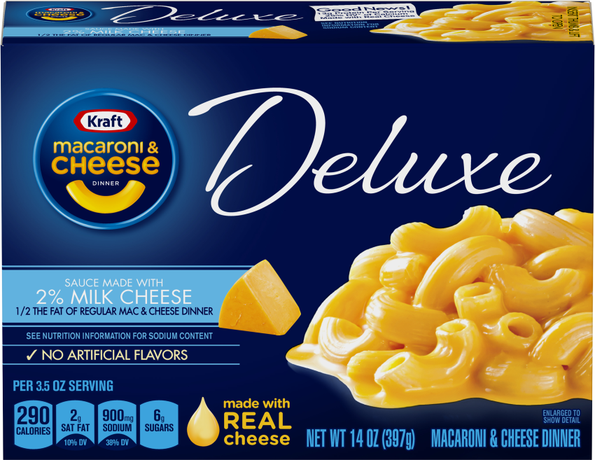 Kraft Deluxe Macaroni & Cheese Dinner Sauce Made with 2% Milk Cheese 14 oz Box image