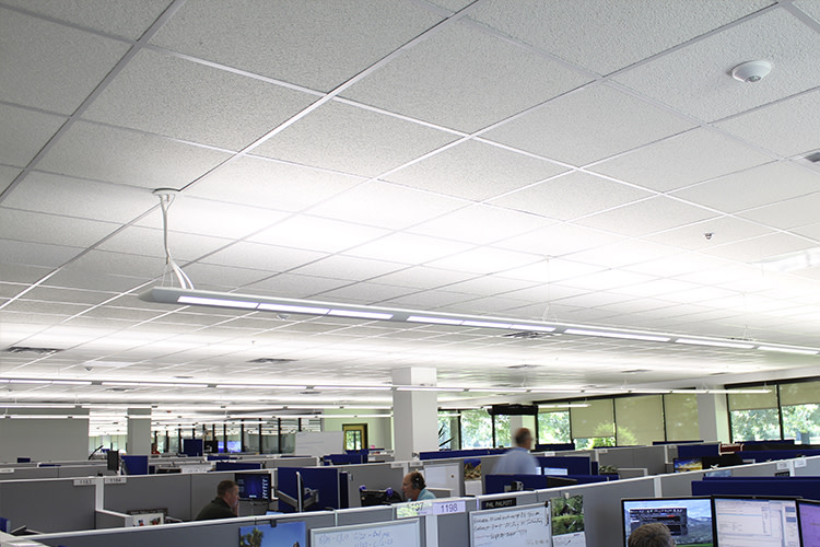 Commercial office with suspended Lumination fixtures