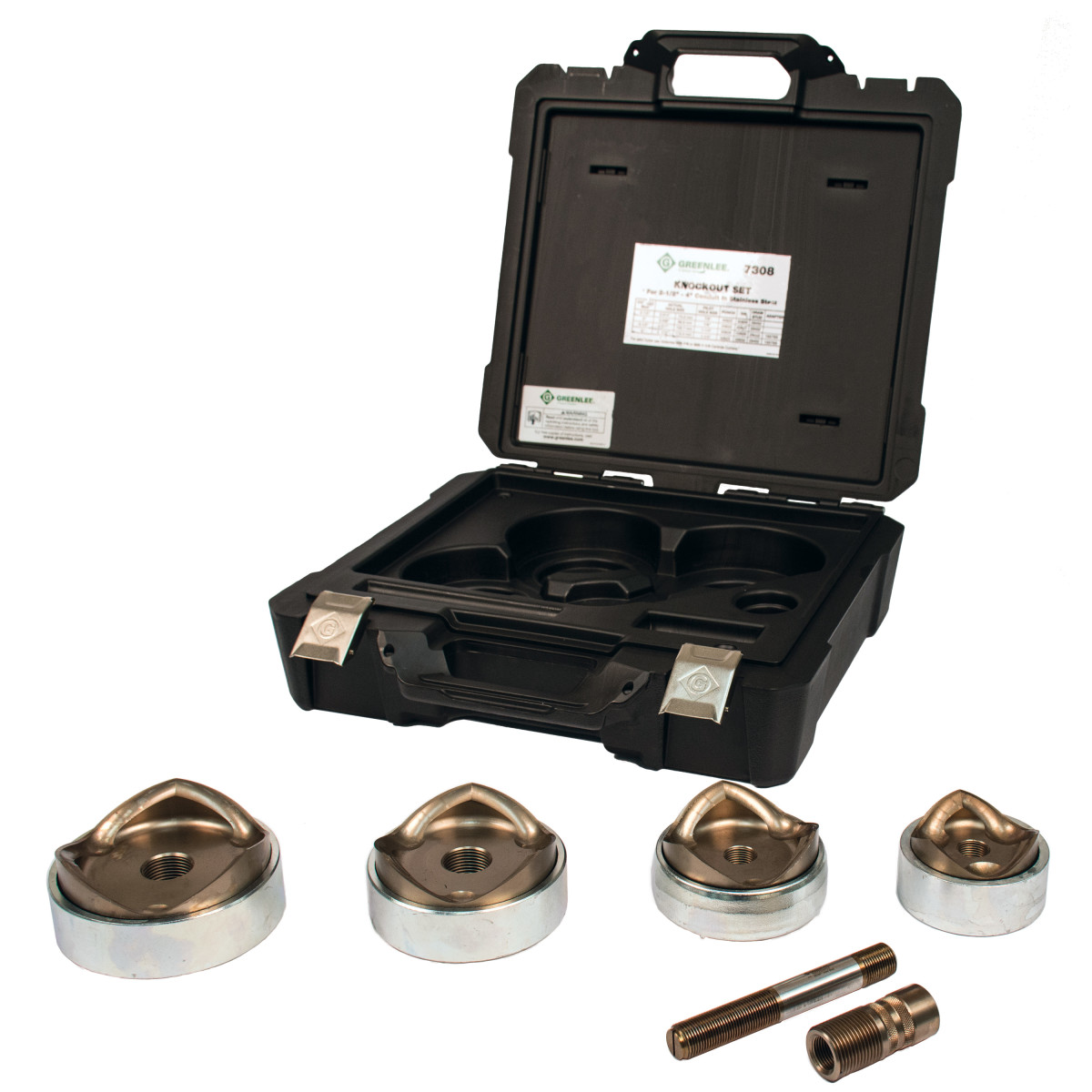 "Greenlee 7308 Punch & Die Knockout Kit for Stainless Steel (2-1/2"", 3"" & 4"" Conduit)"