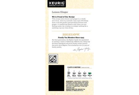 Ingredient panel of Bigelow Lemon Ginger Herbal Tea K-Cups box for Keurig