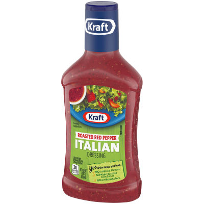 Kraft Roasted Red Pepper Italian Dressing, 16 fl oz Bottle