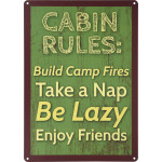 "Cabin Rules Novelty Sign (10"" x 14"")"