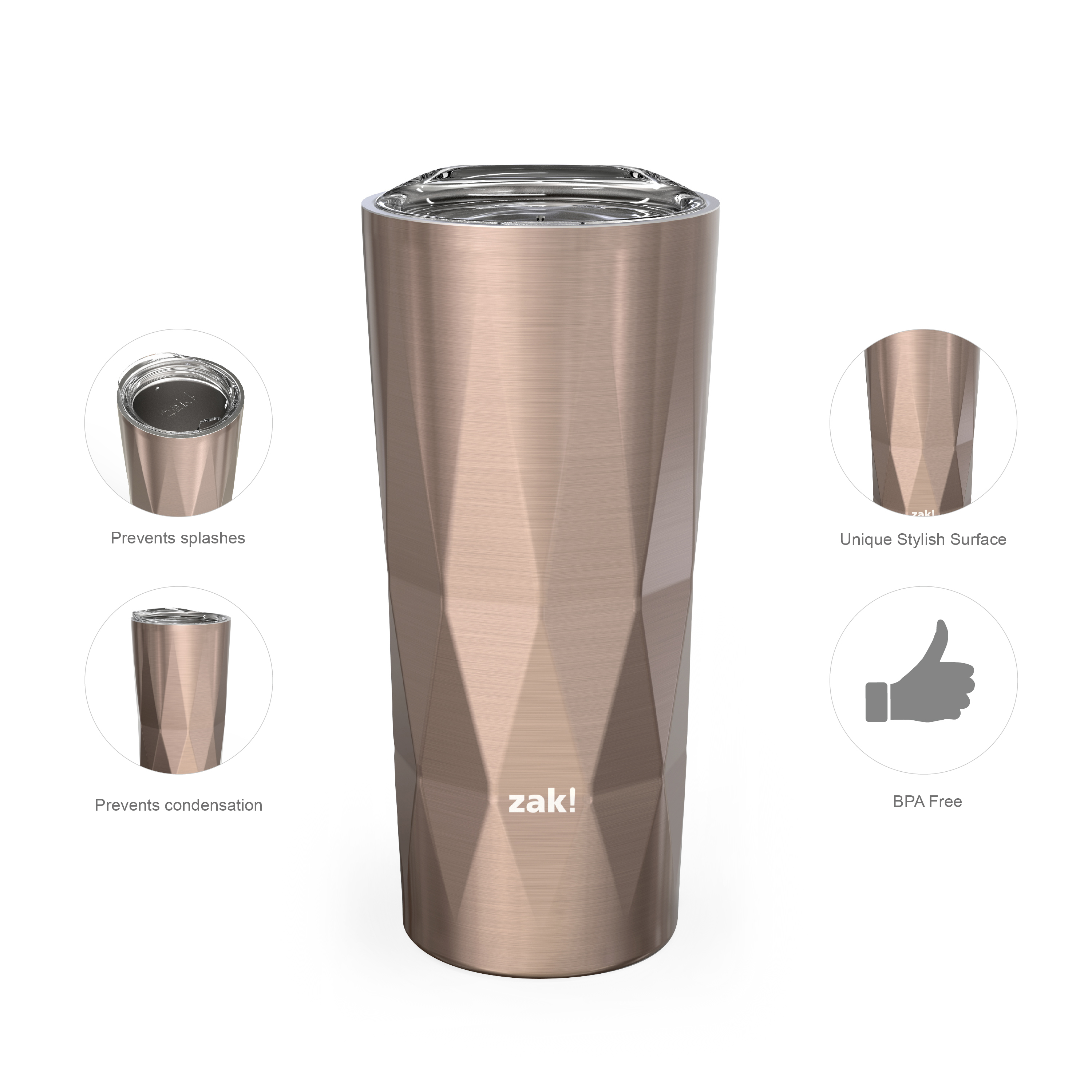 Fractal 16 ounce Vacuum Insulated Stainless Steel Tumbler, Rose Gold slideshow image 3