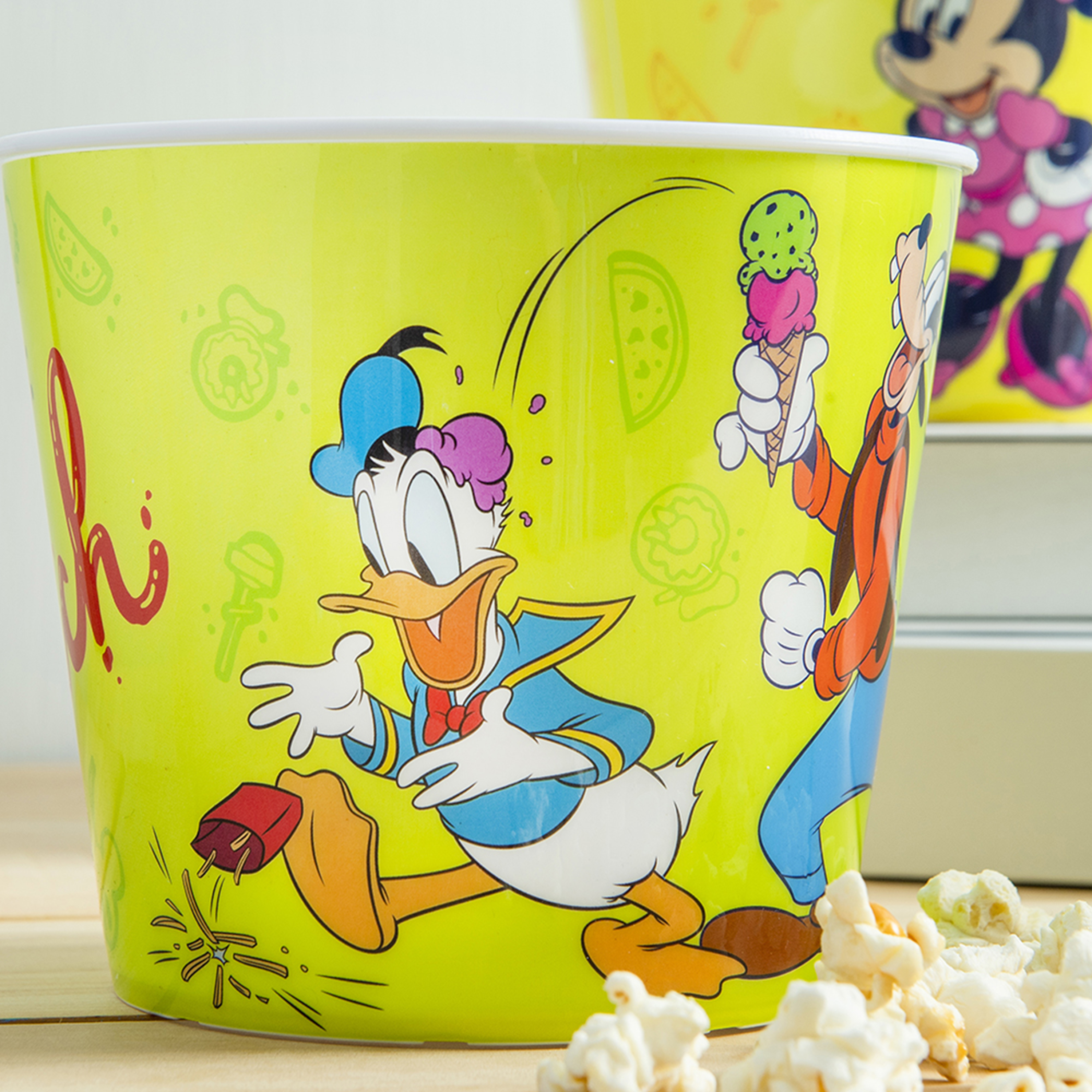 Disney Plastic Popcorn Container and Bowls, Mickey Mouse and Minnie Mouse, 5-piece set slideshow image 3