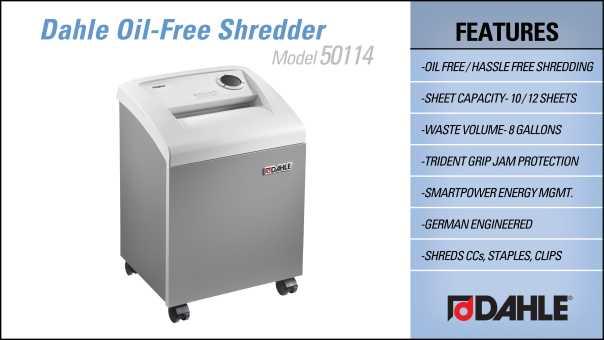 Dahle 50114 Oil Free Small Office Shredder InfoGraphic