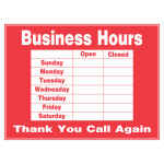"""Business Hours Sign """"Thank You Call Again"""""""