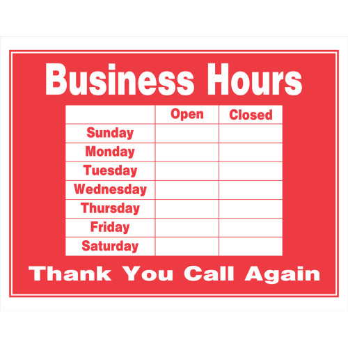 Red and White Business Hours Sign, 15