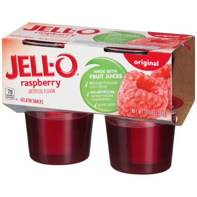 Jell-O Ready to Eat Raspberry Gelatin Snacks, 13.5 oz Sleeve (4 Cups)