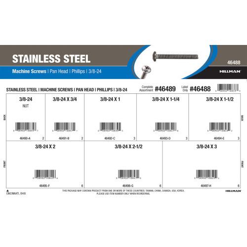 Stainless Steel Phillips Pan-Head Machine Screws Assortment (3/8
