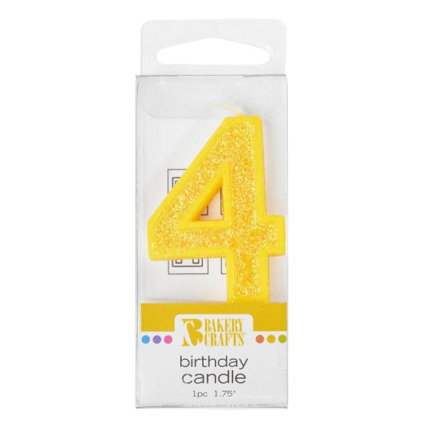 4 Mini Glitter Numeral Candles