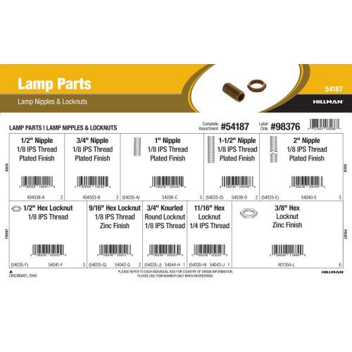 Lamp Parts Assortment (Lamp Nipples & Lock Nuts)