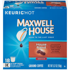 Maxwell House House Blend Coffee K-Cup Packs, 18 count Box