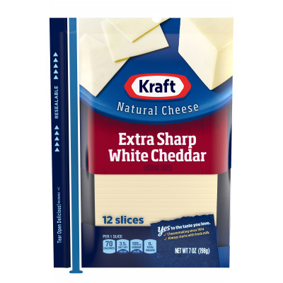 Kraft Extra Sharp White Cheddar Natural Cheese Slices 12 slices - 7 oz Wrapper