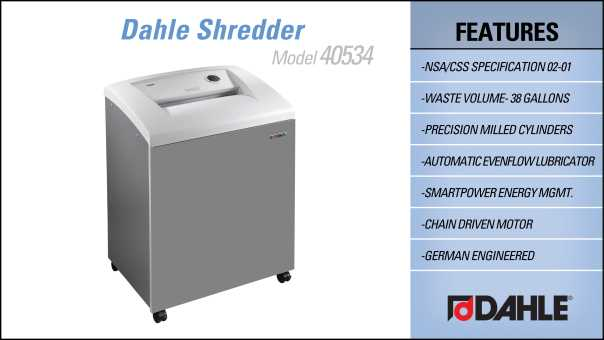 Dahle 40534 High Security Department Shredder InfoGraphic
