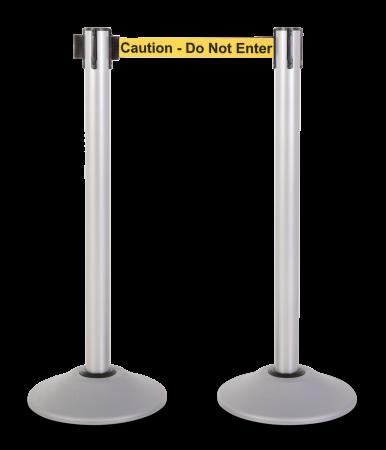 Premium Steel Stanchion - Silver with Caution belt 1