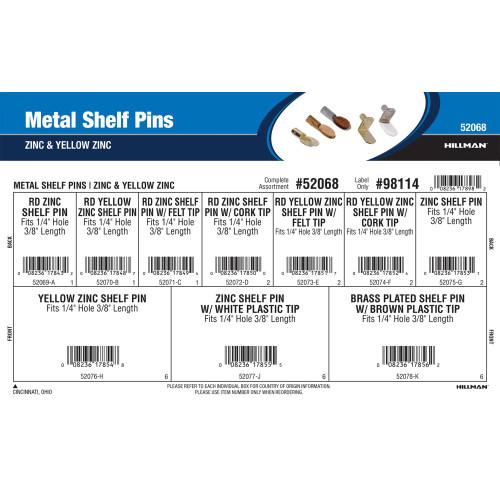 Metal Shelf Pins Assortment (Zinc & Yellow Zinc)