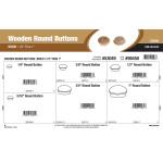"Birch Wooden Round Buttons Assortment (1/4"" thru 1"")"