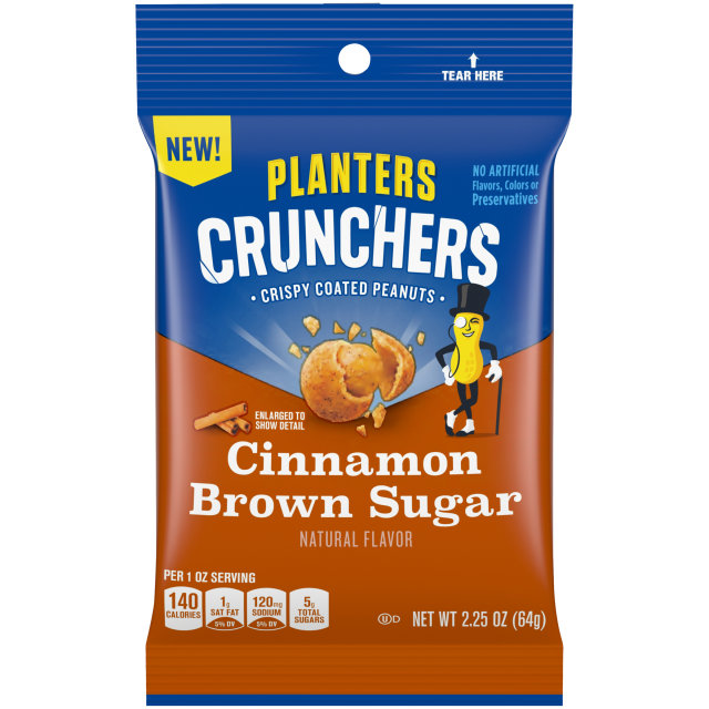 Planters Crunchers Snack Nuts Cinnamon Brown Sugar 2.25 oz Bag