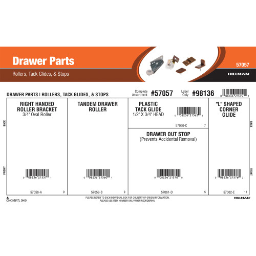 Drawer Parts Assortment (Rollers, Tack Glides & Stops)