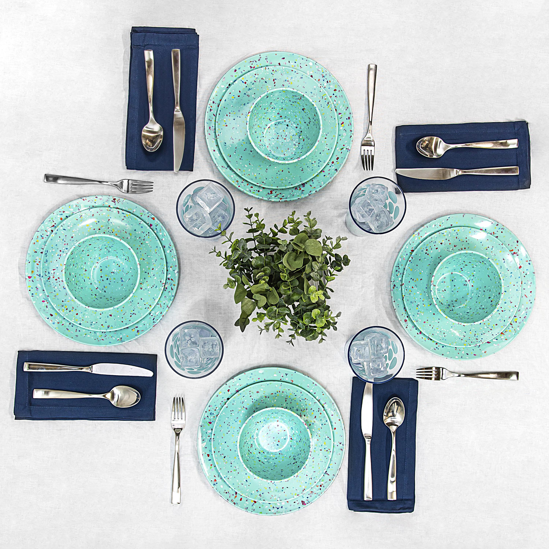 Confetti Dinnerware Set, Mint, 12-piece set slideshow image 4