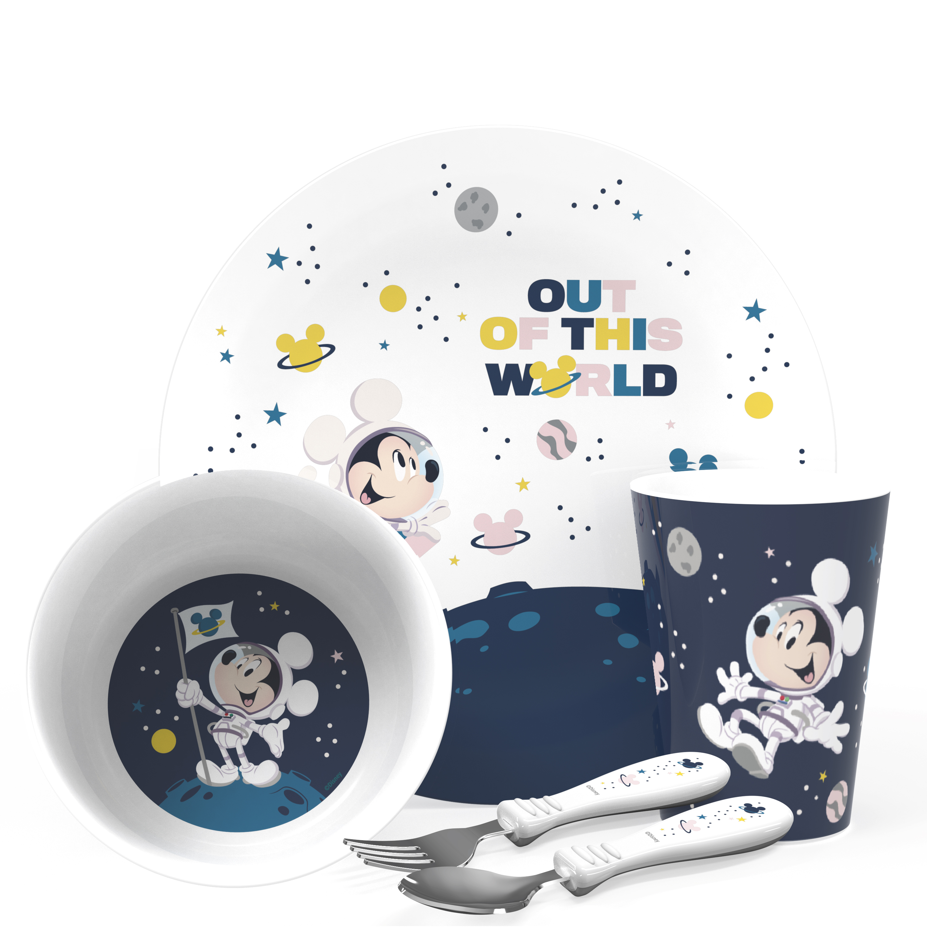 Disney Plate, Bowl, Tumbler and Flatware Set, Outer Space Mickey Mouse, 5-piece set image