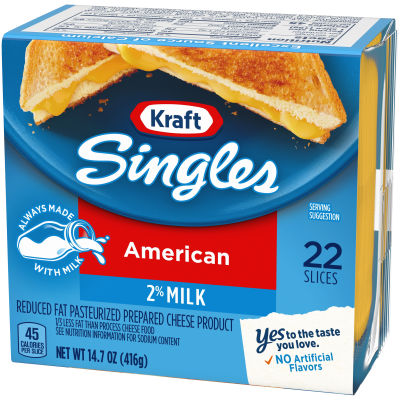 Kraft Singles 2% Milk Reduced Fat American Cheese Slices, 14.7 oz. (22 slices)