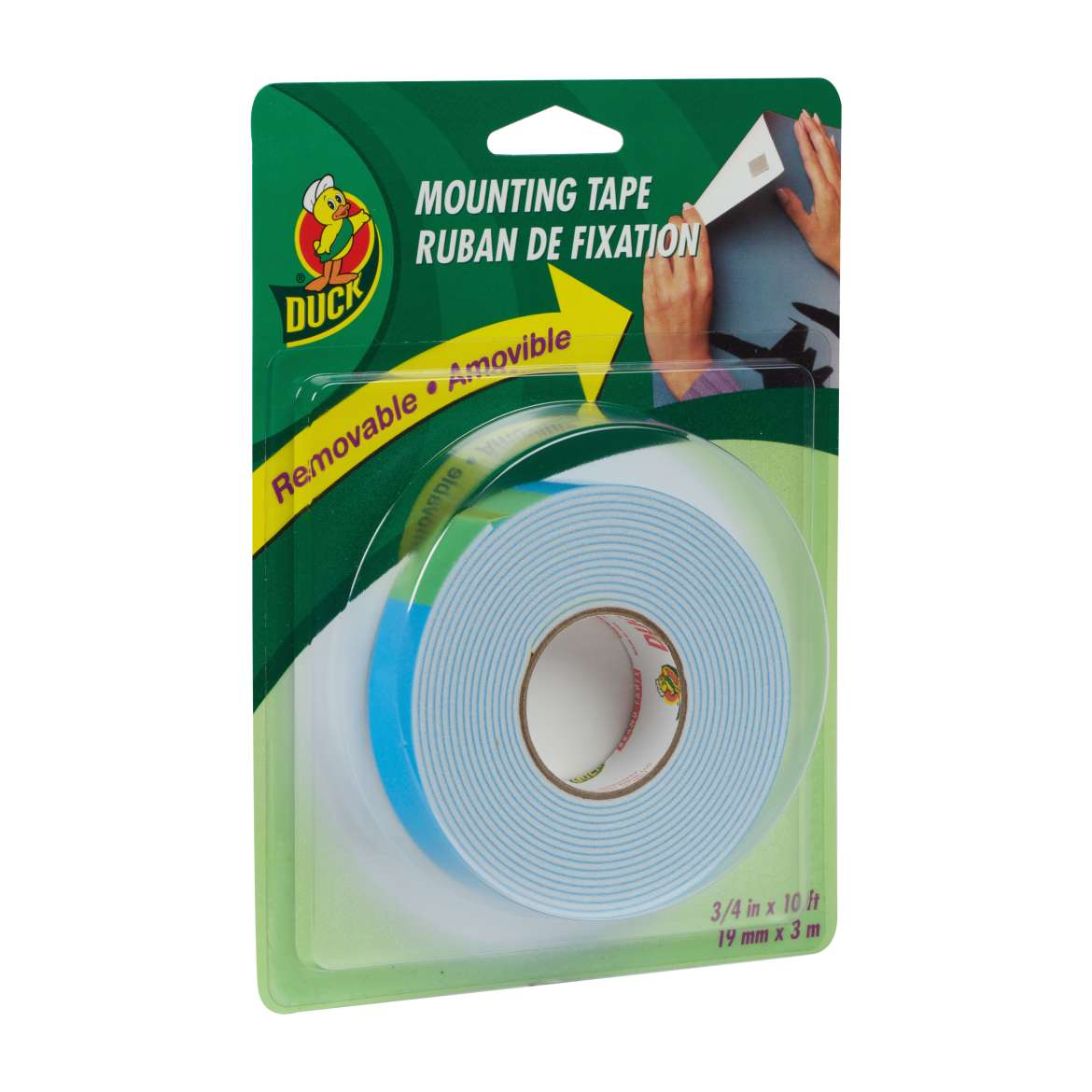 Duck® Brand Removable Mounting Tape - White, .75 in. x 10 ft. Image