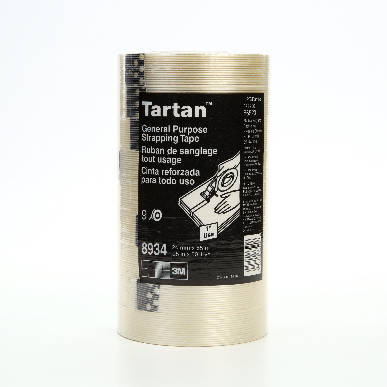 Tartan™ Filament Tape 8934, Clear, 24 mm x 55 m, 4 mil, 36 rolls per case