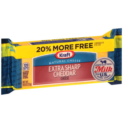 Kraft Extra Sharp Natural Cheddar Cheese Block 9.6 oz Wrapper