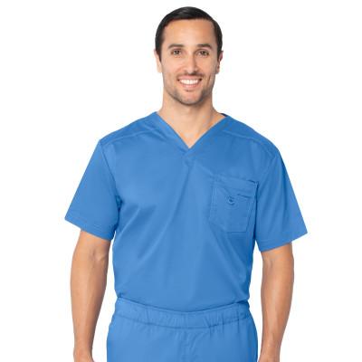 Landau Essentials 1 Pocket Scrub Top for Men: Modern Tailored Fit, V-Neck Medical 4098-