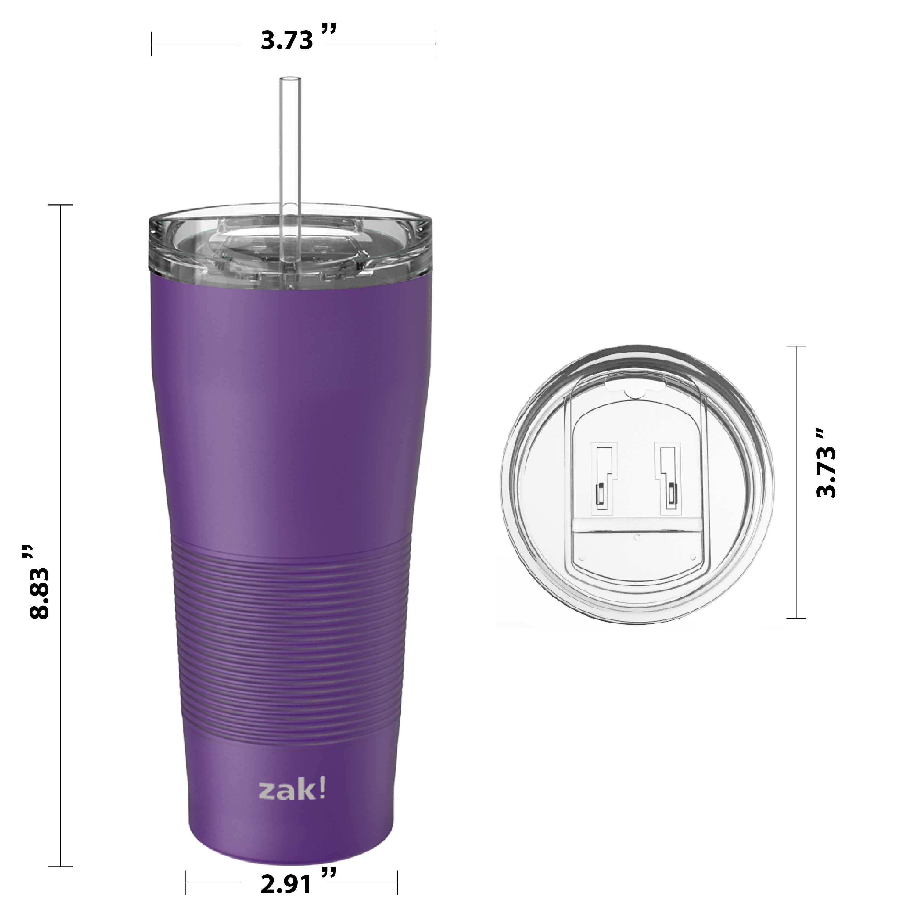 Lynden 28 ounce Stainless Steel Vacuum Insulated Tumbler with Straw, Viola slideshow image 6