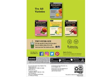 Back panel of Bigelow Green Tea K-Cups box for Keurig