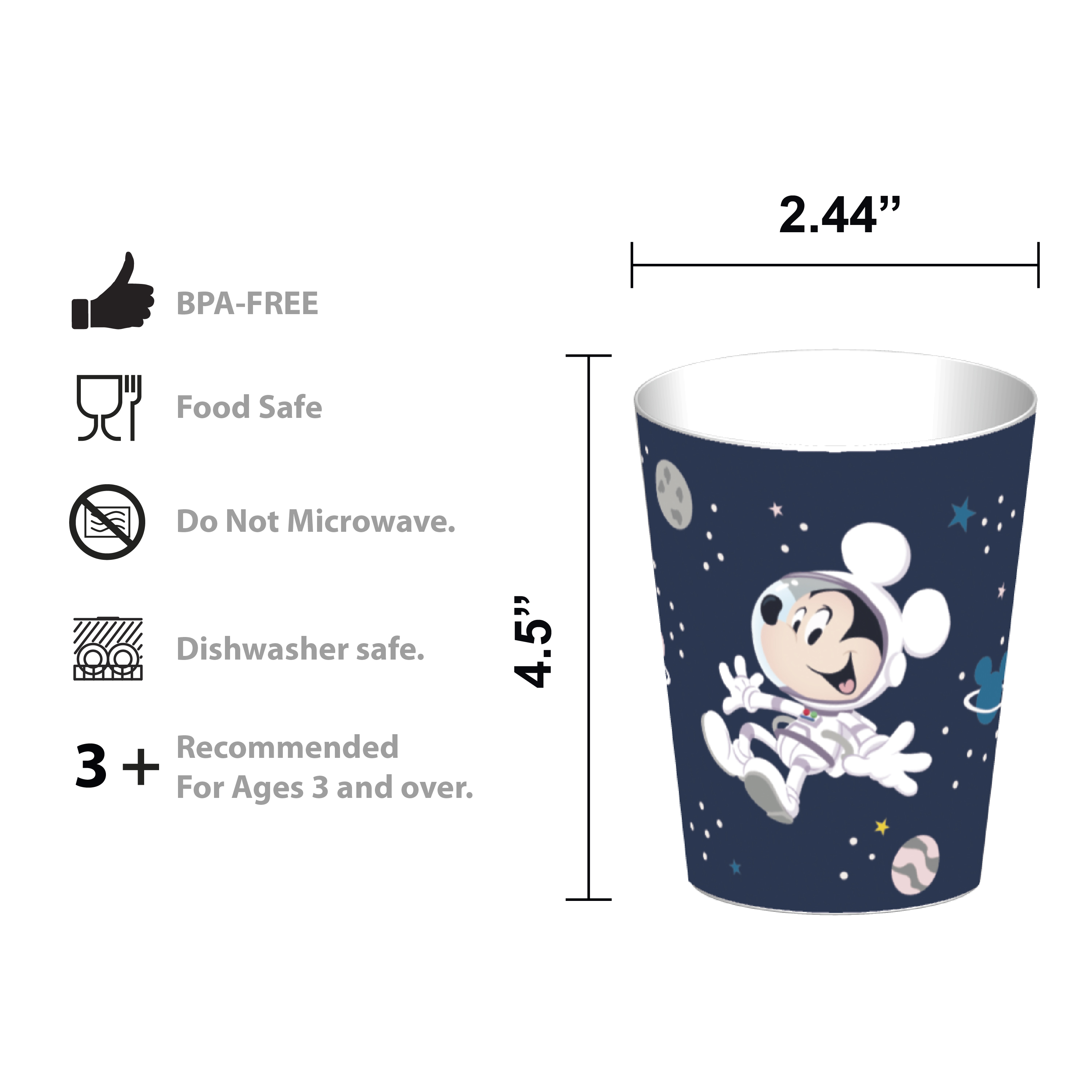 Disney Plate, Bowl, Tumbler and Flatware Set, Outer Space Mickey Mouse, 5-piece set slideshow image 8