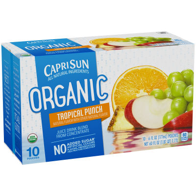 Capri Sun Organic Tropical Punch Ready-to-Drink Soft Drink, 10 - 6 fl oz Pouches