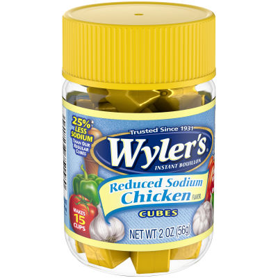 Wyler's Reduced Sodium Chicken Flavor Instant Bouillon Cubes, 2 oz Jar