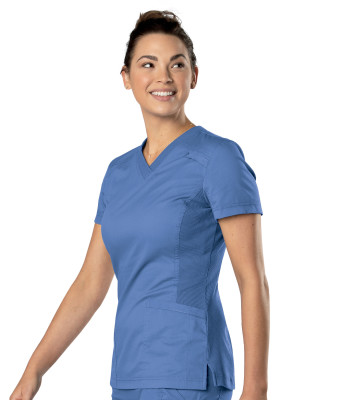 Landau All Day Stretch, 2 Pocket Scrub Shirt for Women - Modern Tailored Fit, Knit Side Panels, V-Neck Medical Scrubs 4164-
