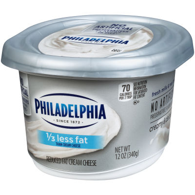 Philadelphia 1/3 Less Fat Cream Cheese Spread 12 oz Cup