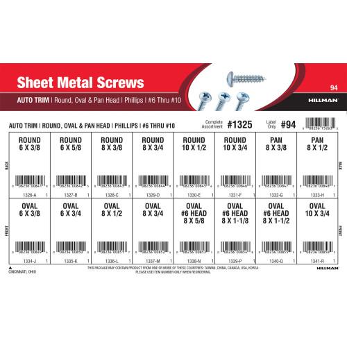 Phillips Round, Oval, & Pan Auto-Trim Sheet Metal Screws Assortment (#6 thru #10)