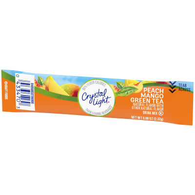 Crystal Light On the Go Sugar Free Powdered Peach Mango Green Tea 0.08 oz Wrapper
