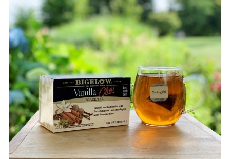 Bigelow Vanilla Chai tea bag in foil overwrap
