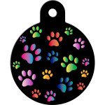 Black with Rainbow Paws Large Circle Quick-Tag