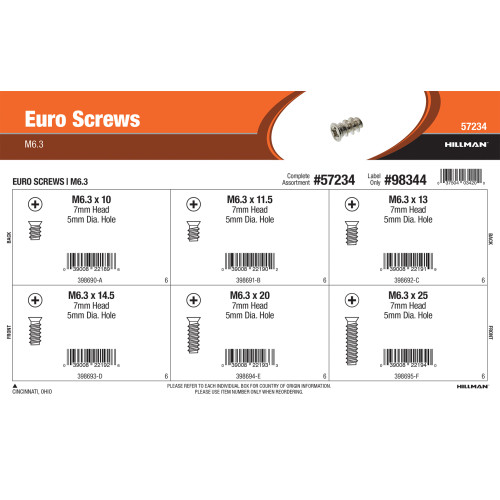 Euro Screws Assortment (M6.3 Size)