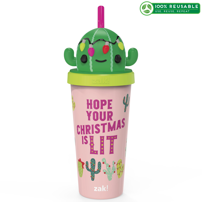 Zak Holiday 18 ounce Reusable Plastic Tumbler, Cactus image
