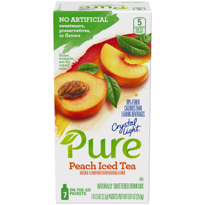 Crystal Light Pure Peach Iced Tea Drink Mix 7 - 0.13 oz Packets