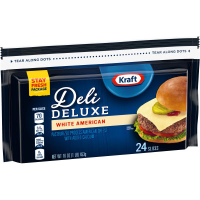 Kraft Deli Deluxe White American Cheese Slices, 16 oz (24 slices)
