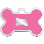 Chrome with Pink Epoxy Large Bone Quick-Tag