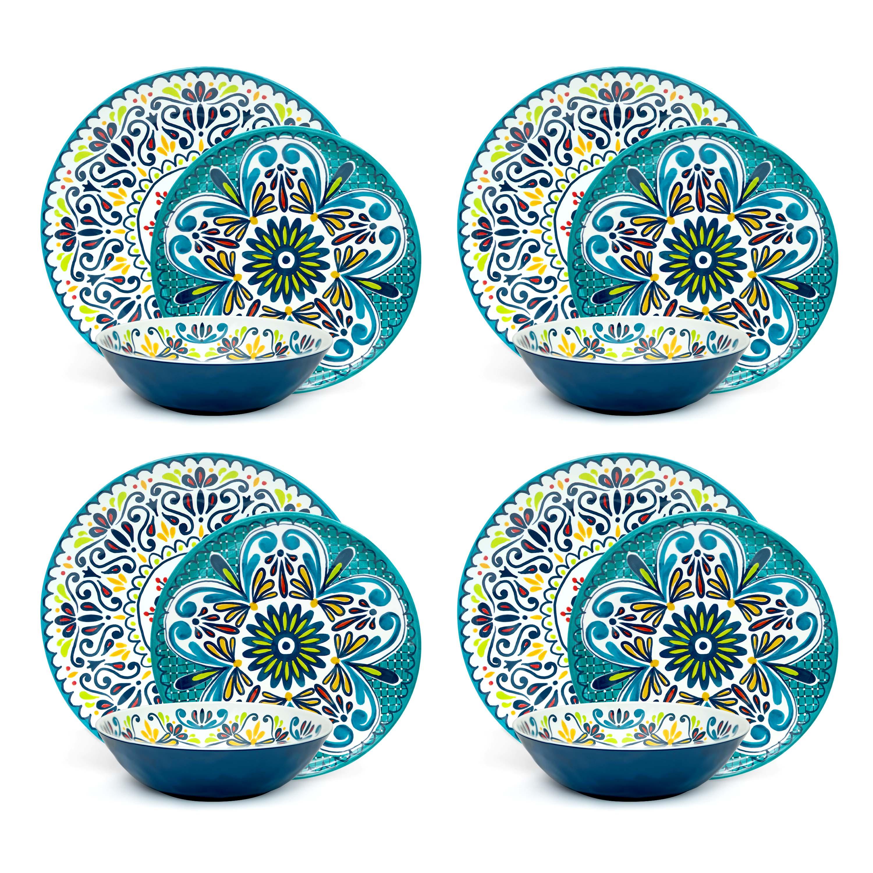 Medallion Dinnerware Set, Cool, 12-piece set slideshow image 4