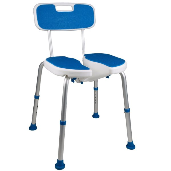 7105 Adjustable Padded Bath Safety Seat With Hygienic Cutout With Backrest