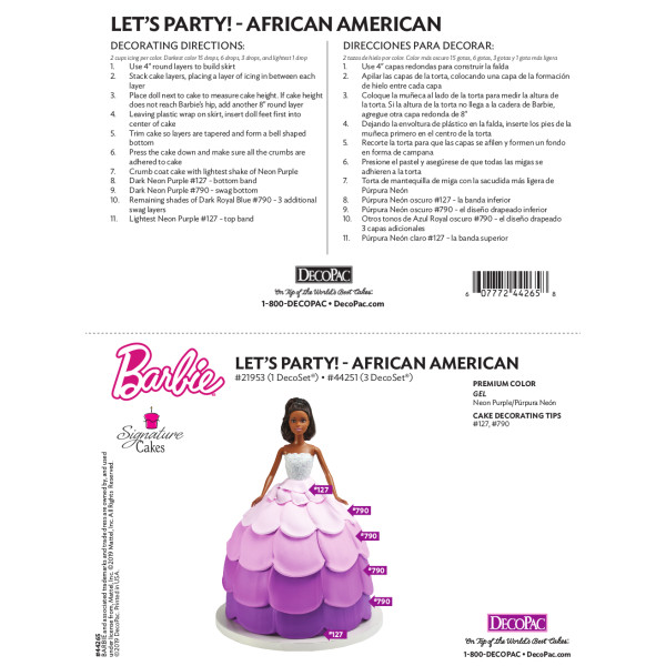 Barbie® Doll Let's Party! African American Cake Decorating Instruction Card