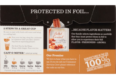 Back of Salted Caramel Black Tea box